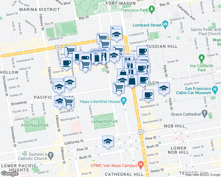 map of restaurants, bars, coffee shops, grocery stores, and more near Gough Street & Broadway in San Francisco
