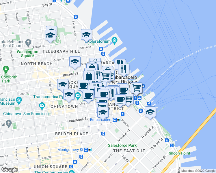 map of restaurants, bars, coffee shops, grocery stores, and more near 145 Jackson Street in San Francisco