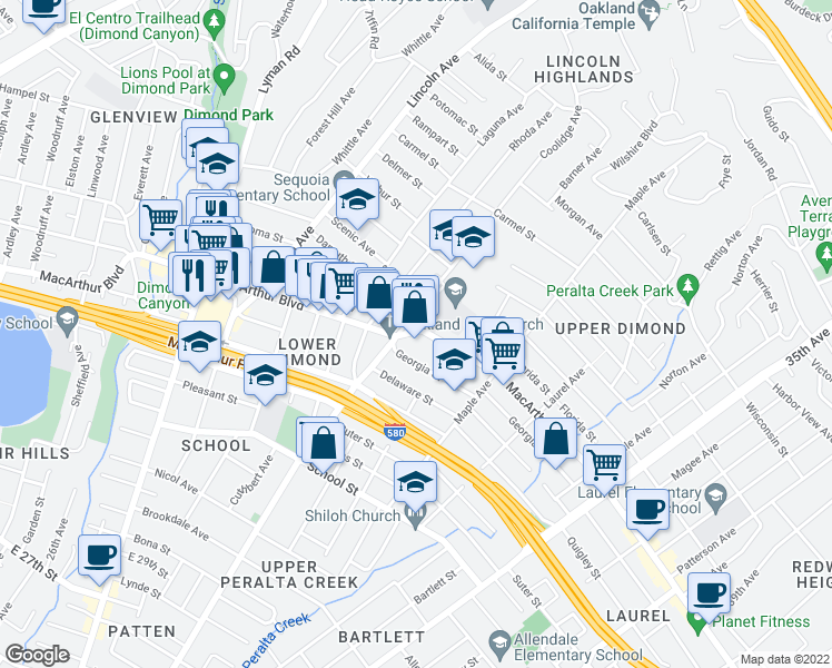 map of restaurants, bars, coffee shops, grocery stores, and more near 2825 MacArthur Blvd in Oakland