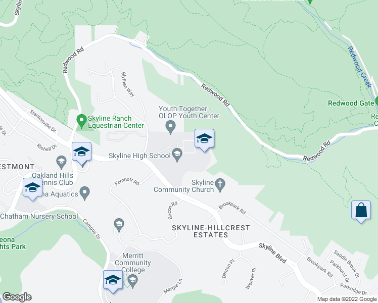 map of restaurants, bars, coffee shops, grocery stores, and more near 12250 Skyline Boulevard in Oakland