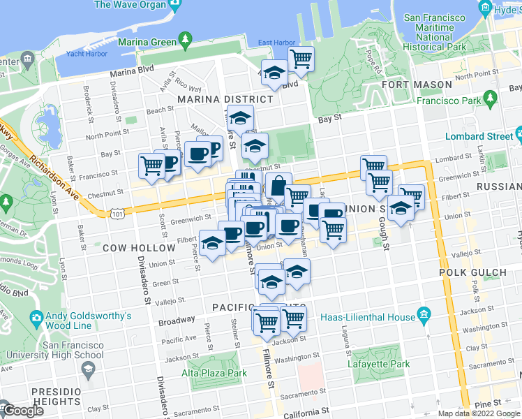 map of restaurants, bars, coffee shops, grocery stores, and more near 2129 Greenwich St in San Francisco