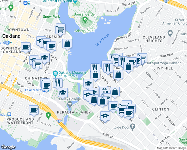 map of restaurants, bars, coffee shops, grocery stores, and more near 1240 1st Ave in Oakland