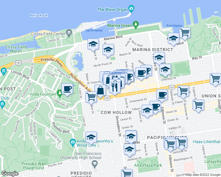 map of restaurants, bars, coffee shops, grocery stores, and more near 2411 Chestnut Street in San Francisco