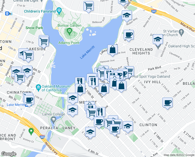 map of restaurants, bars, coffee shops, grocery stores, and more near East 18th Street & Athol Avenue in Oakland