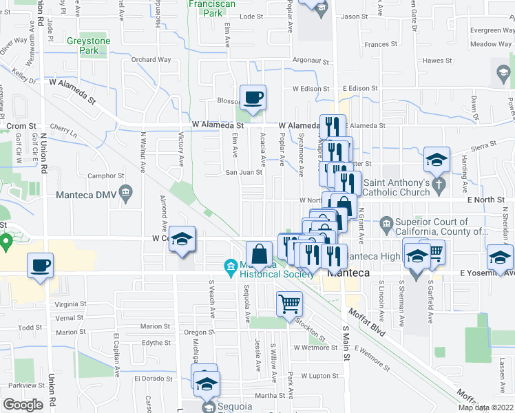 map of restaurants, bars, coffee shops, grocery stores, and more near 222 Acacia Avenue in Manteca