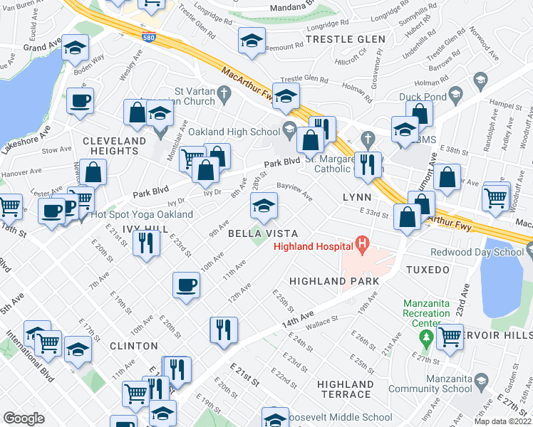 map of restaurants, bars, coffee shops, grocery stores, and more near E 28th St in Oakland