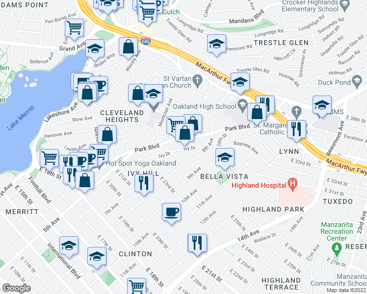 map of restaurants, bars, coffee shops, grocery stores, and more near 2551 Ivy Dr in Oakland