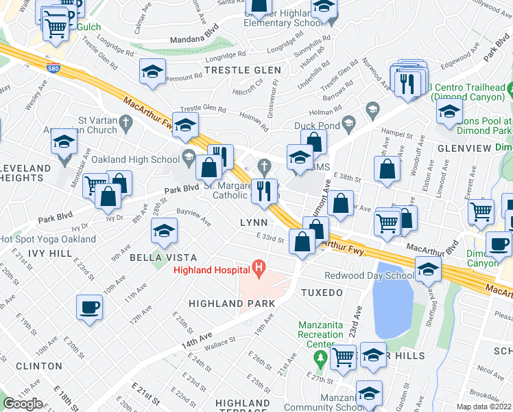 map of restaurants, bars, coffee shops, grocery stores, and more near 1285 MacArthur Boulevard in Oakland