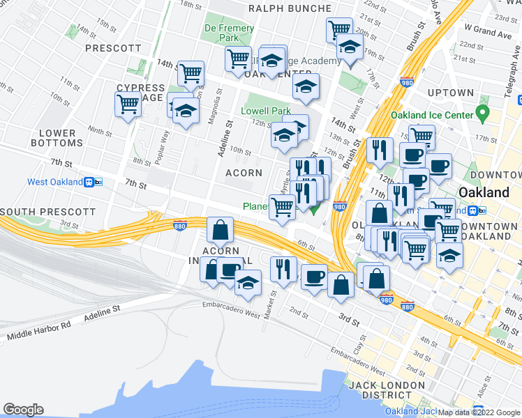 map of restaurants, bars, coffee shops, grocery stores, and more near 985 7th Street in Oakland