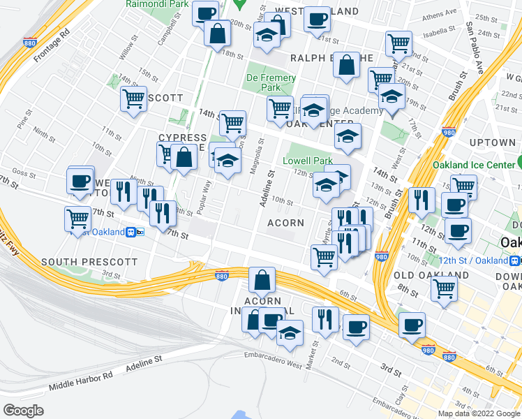 map of restaurants, bars, coffee shops, grocery stores, and more near 901-925 Adeline Street in Oakland
