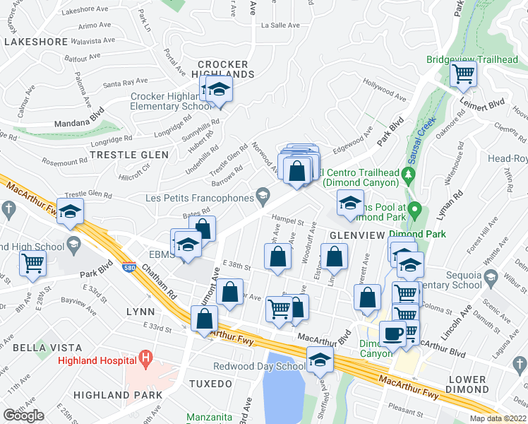 map of restaurants, bars, coffee shops, grocery stores, and more near Park Blvd & Hampel St in Oakland