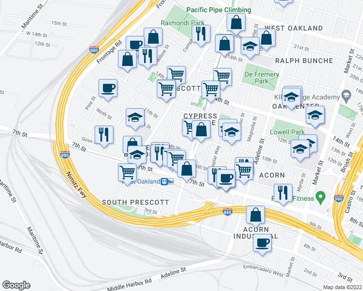 map of restaurants, bars, coffee shops, grocery stores, and more near 908 Center St in Oakland