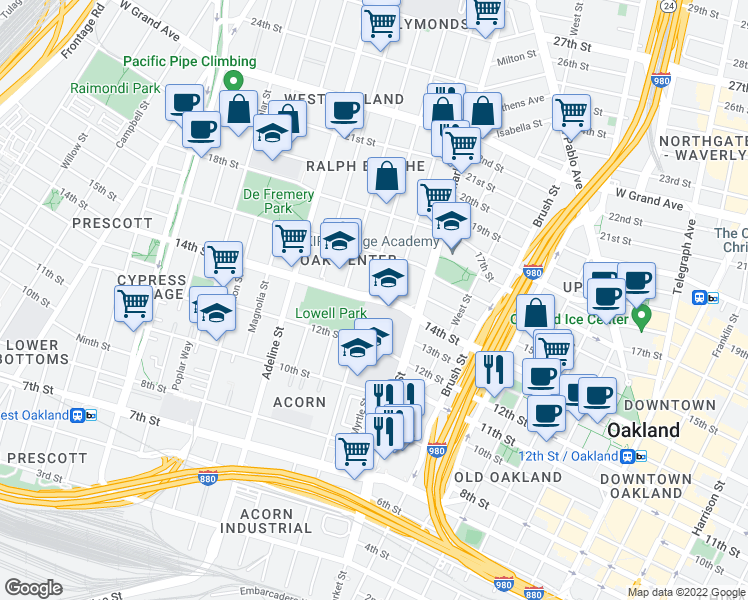 map of restaurants, bars, coffee shops, grocery stores, and more near 1004 14th Street in Oakland