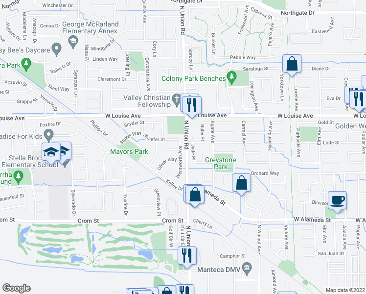 map of restaurants, bars, coffee shops, grocery stores, and more near 1237 Shaefer Street in Manteca