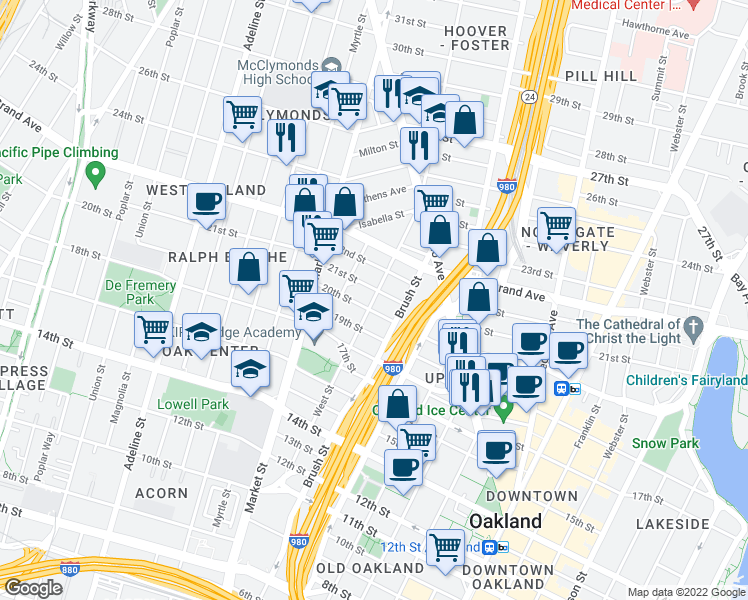 map of restaurants, bars, coffee shops, grocery stores, and more near 2012 West St in Oakland