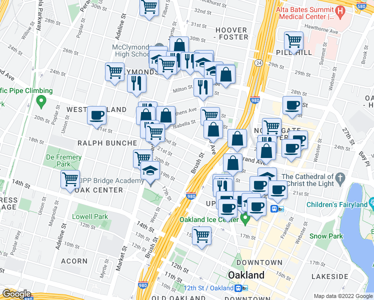 map of restaurants, bars, coffee shops, grocery stores, and more near West St & 22nd St i
