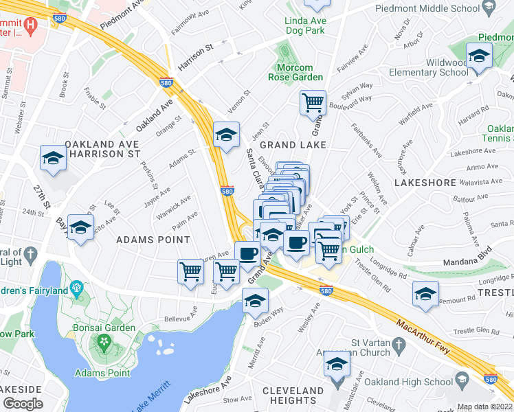 map of restaurants, bars, coffee shops, grocery stores, and more near 377 Santa Clara Avenue in Oakland