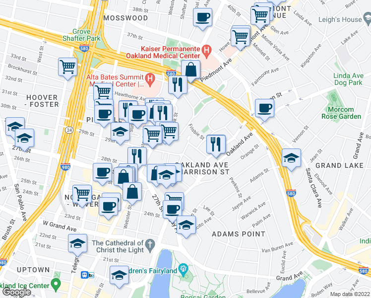 map of restaurants, bars, coffee shops, grocery stores, and more near 235 30th St in Oakland