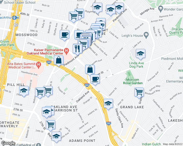 map of restaurants, bars, coffee shops, grocery stores, and more near Moss Avenue in Oakland