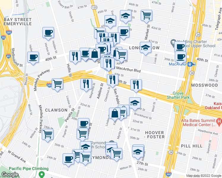 map of restaurants, bars, coffee shops, grocery stores, and more near 3427 San Pablo Avenue in Oakland