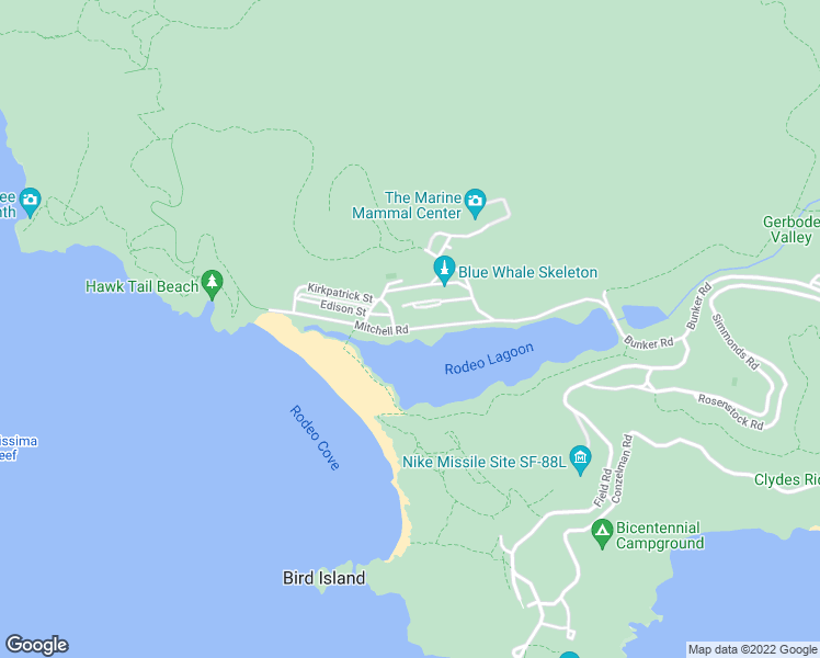 map of restaurants, bars, coffee shops, grocery stores, and more near Mitchell Rd in Sausalito