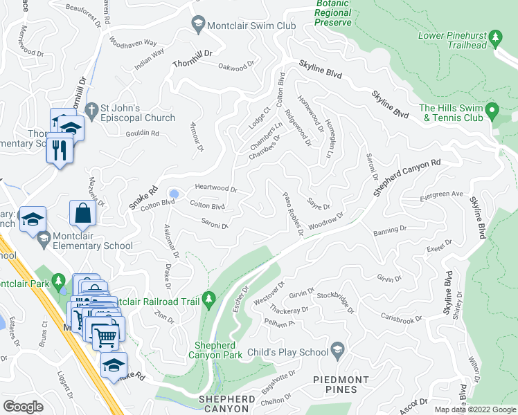 map of restaurants, bars, coffee shops, grocery stores, and more near 10 Southwood Court in Oakland