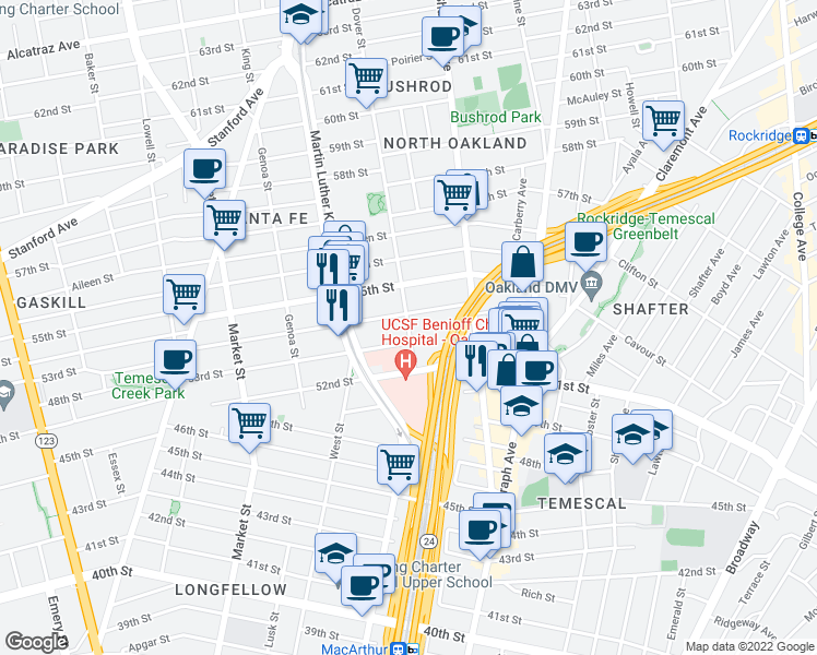 map of restaurants, bars, coffee shops, grocery stores, and more near 5316 Dover St in O