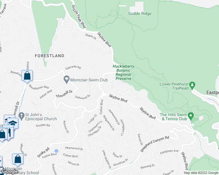 map of restaurants, bars, coffee shops, grocery stores, and more near Manzanita Dr & Northwood Ct in Oakland