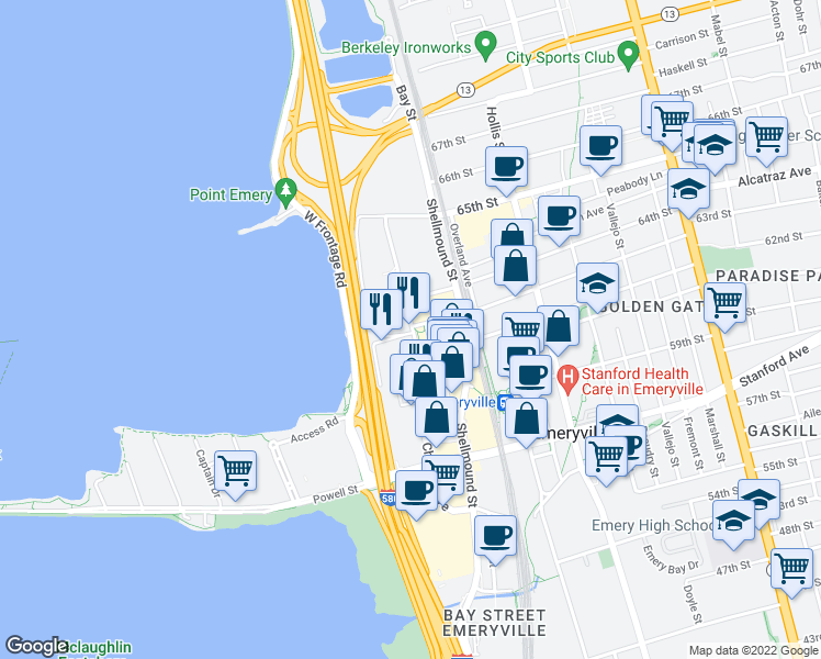map of restaurants, bars, coffee shops, grocery stores, and more near 6150 Christie Avenue in Emeryville