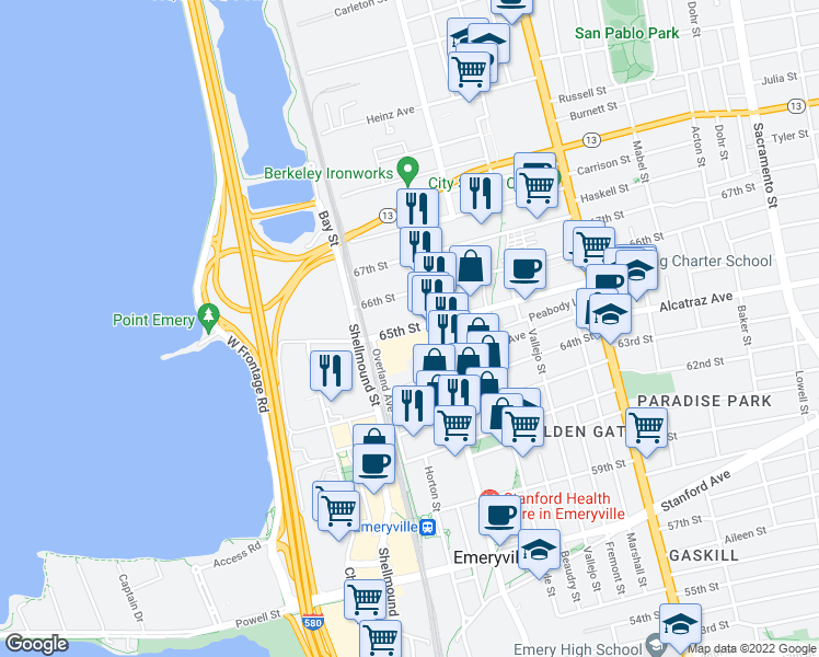 map of restaurants, bars, coffee shops, grocery stores, and more near 1405 65th Street in Emeryville