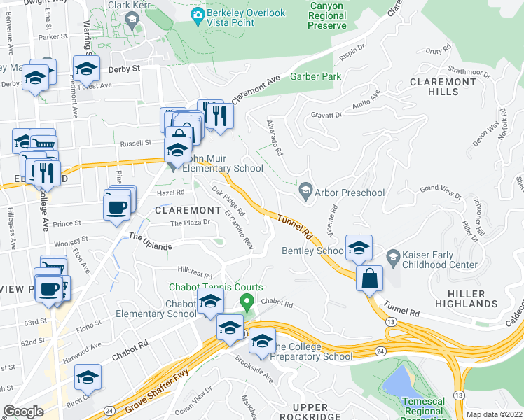 map of restaurants, bars, coffee shops, grocery stores, and more near Tunnel Rd & Alvarado Rd in Berkeley