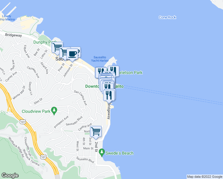 map of restaurants, bars, coffee shops, grocery stores, and more near 30 El Portal St in Sausalito