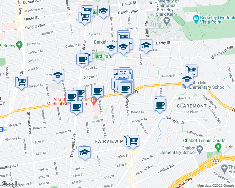 map of restaurants, bars, coffee shops, grocery stores, and more near Ashby Avenue & Benvenue Avenue in Berkeley