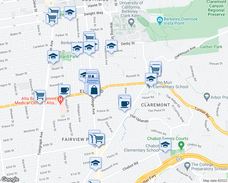 map of restaurants, bars, coffee shops, grocery stores, and more near 2946 Linden Avenue in Berkeley