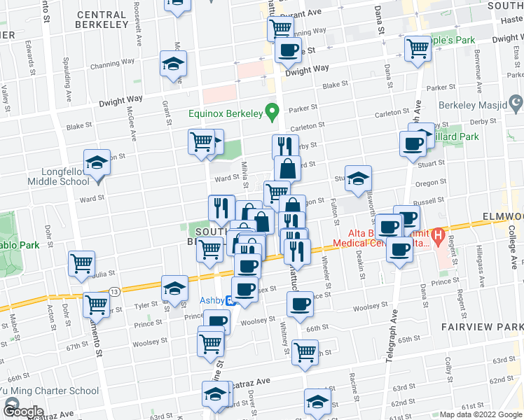 map of restaurants, bars, coffee shops, grocery stores, and more near Adeline St & Oregon St in Berkeley