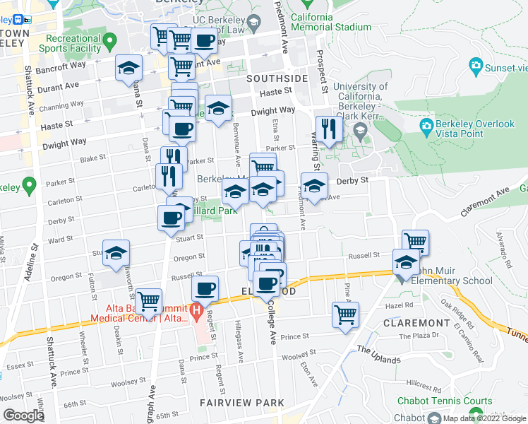 map of restaurants, bars, coffee shops, grocery stores, and more near 2707 Forest Avenue in Berkeley