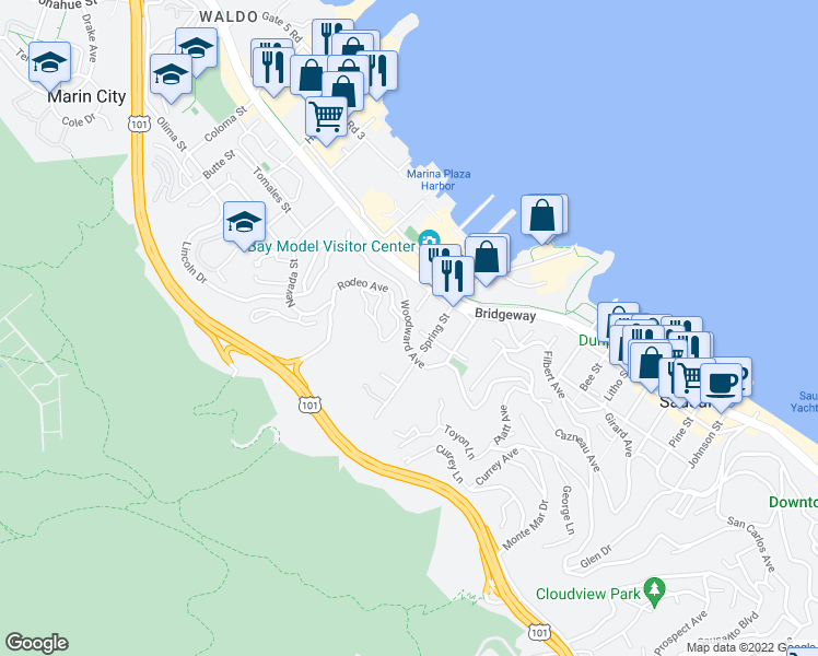 map of restaurants, bars, coffee shops, grocery stores, and more near Woodward Ave & Rodeo Ave in Sausalito