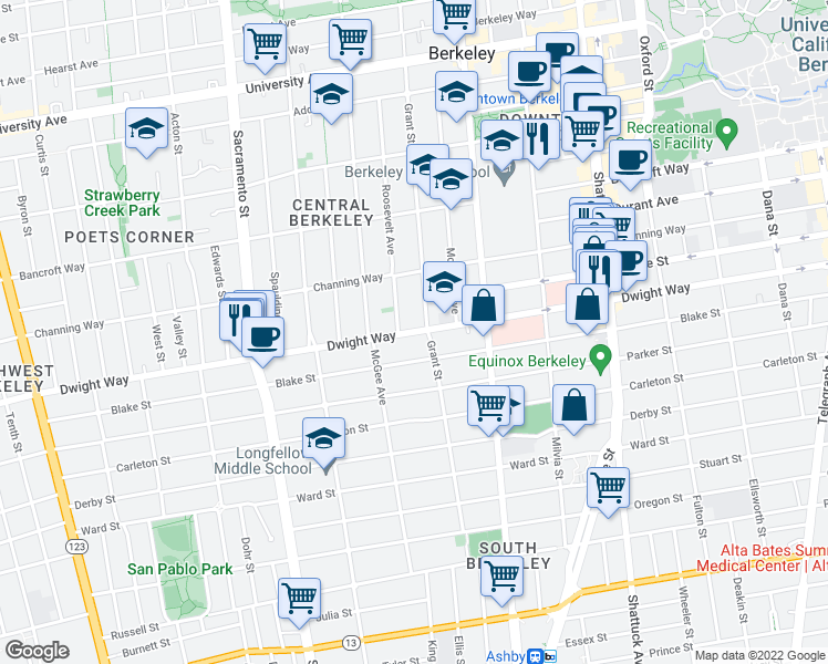 map of restaurants, bars, coffee shops, grocery stores, and more near 2439-2499 Roosevelt Avenue in Berkeley