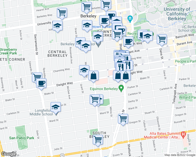 map of restaurants, bars, coffee shops, grocery stores, and more near 2500 Milvia St in Berkeley