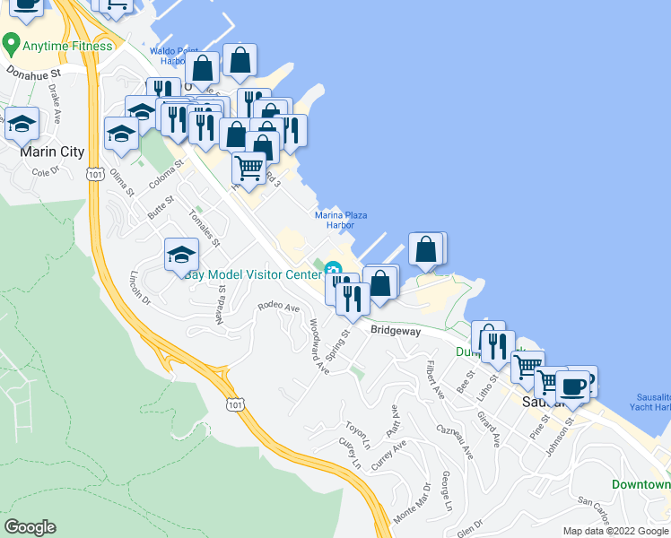 map of restaurants, bars, coffee shops, grocery stores, and more near 2100 Bridgeway in Sausalito