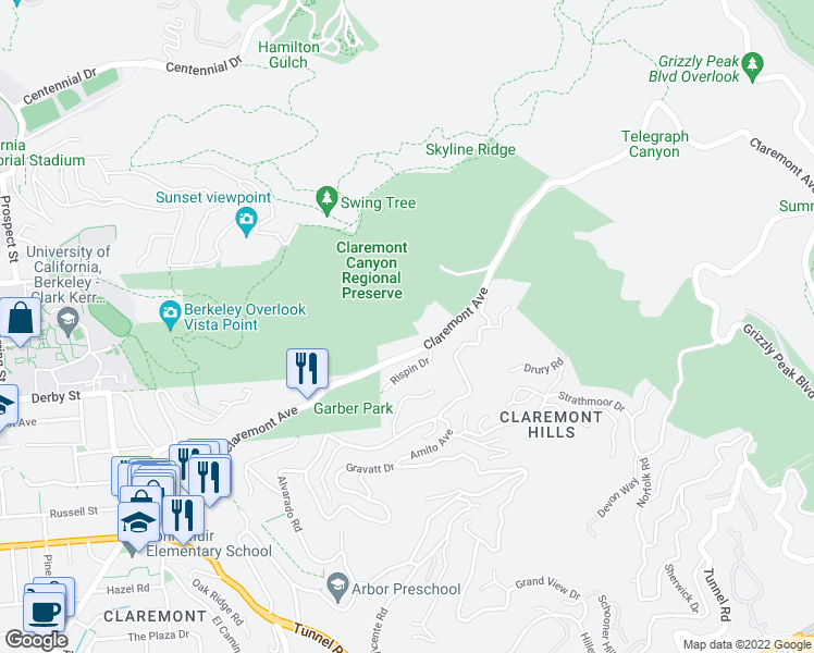 map of restaurants, bars, coffee shops, grocery stores, and more near 7807 Claremont Avenue in Berkeley