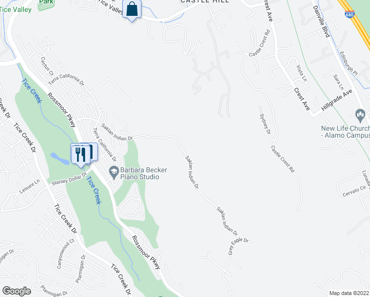 map of restaurants, bars, coffee shops, grocery stores, and more near 2858 Saklan Indian Dr in Walnut Creek