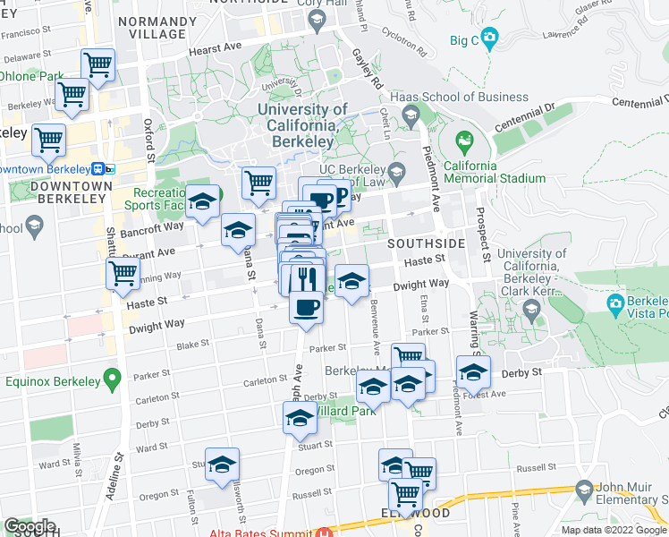 map of restaurants, bars, coffee shops, grocery stores, and more near 2556 Haste Street in Berkeley