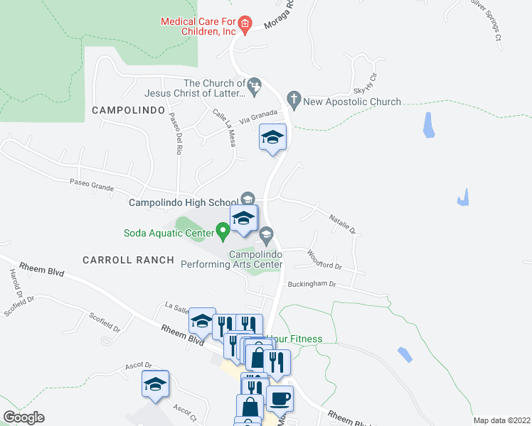 map of restaurants, bars, coffee shops, grocery stores, and more near 300 Moraga Road in Moraga