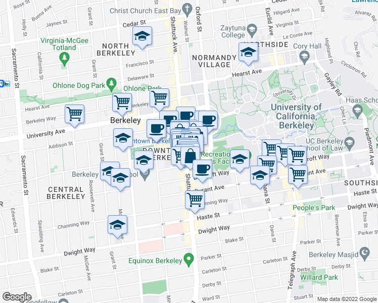 map of restaurants, bars, coffee shops, grocery stores, and more near 2257 Shattuck Avenue in Oakland