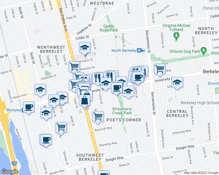 map of restaurants, bars, coffee shops, grocery stores, and more near University Ave & Chestnut St in Berkeley