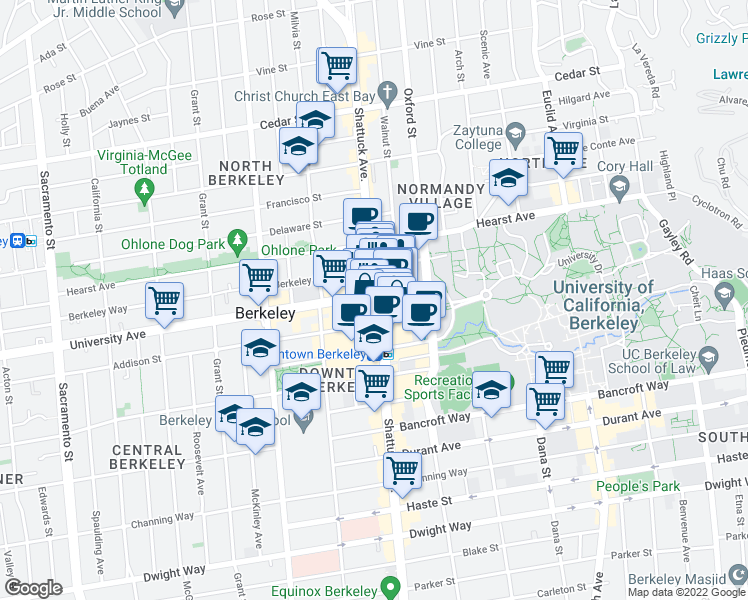 map of restaurants, bars, coffee shops, grocery stores, and more near 2008 Shattuck Square in Berkeley