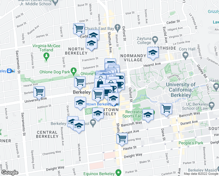 map of restaurants, bars, coffee shops, grocery stores, and more near 2054 University Avenue in Berkeley
