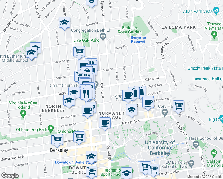 map of restaurants, bars, coffee shops, grocery stores, and more near 2271 Virginia Street in Berkeley