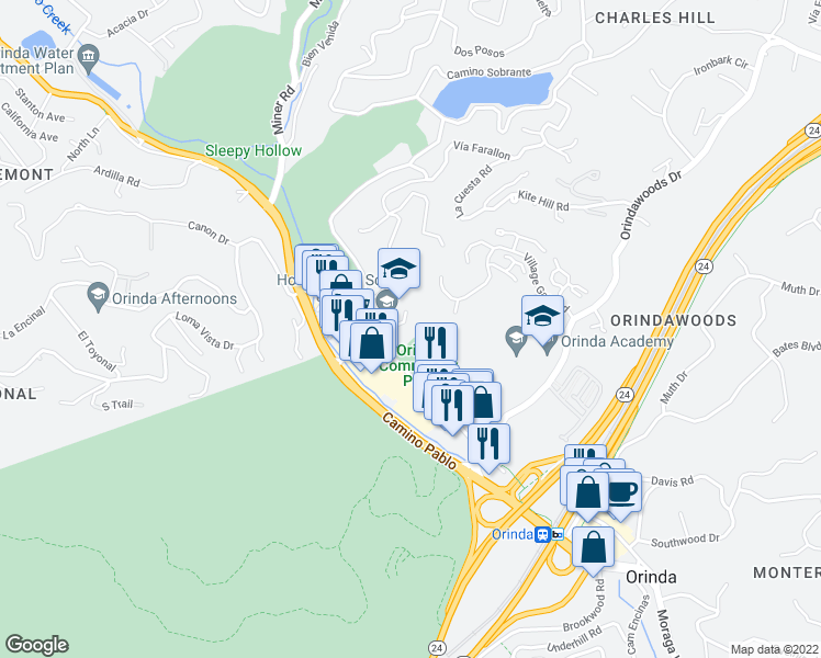 map of restaurants, bars, coffee shops, grocery stores, and more near 98 Irwin Way in Orinda